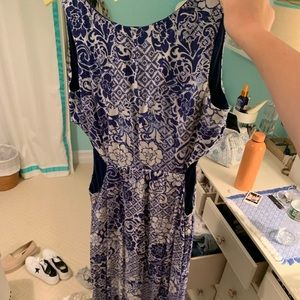 Forever 2q blue and white cutout maxi dress!